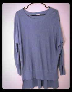 Eileen Fisher 100% linen long sleeve high low top